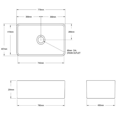 Novi Reversible 76x45 Gloss White Fine Fireclay Single Butler Sink Diagram