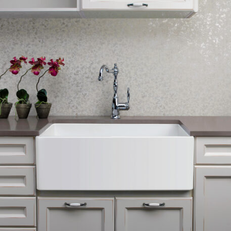 Novi Reversible 76x45 Gloss White Fine Fireclay Single Butler Sink Installed Flat Front