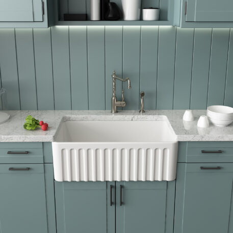 Novi Reversible 76x45 Gloss White Fine Fireclay Single Butler Sink Installed Ribbed Front