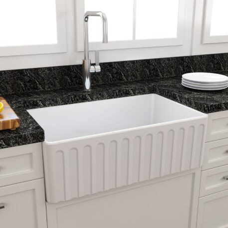 Novi Reversible 76x45 Gloss White Fine Fireclay Single Butler Sink Installed Ribbed Front1