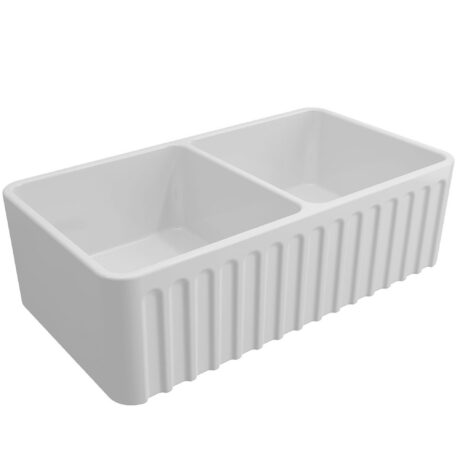 Novi Reversible 85x46 Gloss White Fine Fireclay Double Butler Sink Ribbed Front Dst Thno85fs Wh