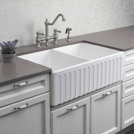 Novi Reversible 85x46 Gloss White Fine Fireclay Double Butler Sink White Kitchen Ribbed Front Installed