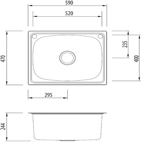 Oliveri Single Bowl Stainless Steel Laundry Trough 2 Holes Dst Olv Ti45s Fg Diagram