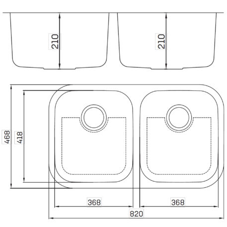 Veronar Forge Undermount Double Bowl Satin Stainless Steel Sink Dst Svf210sink Sss Diagram