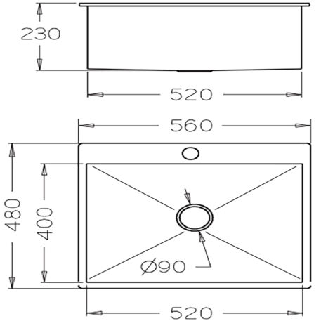 Veronar Sniper 540 Single Bowl Stainless Steel Laundry Trough Dst Sltq560 Ss Diagram